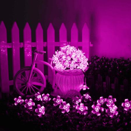 Napelemes LED cseresznyefa virág fényfüzér 2 m pink