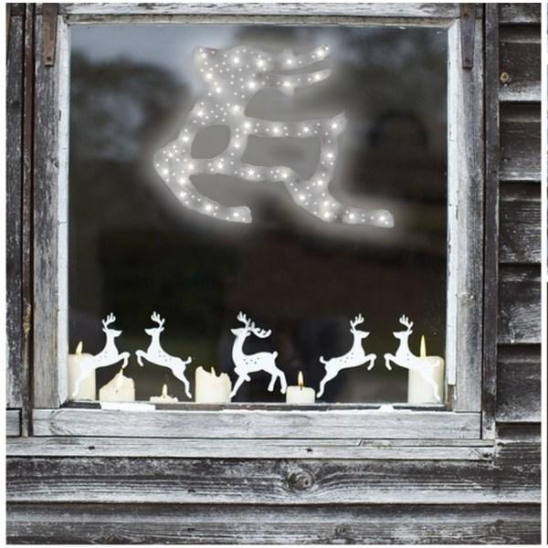 Karácsonyi LED ablakdísz rénszarvas hideg fehér
