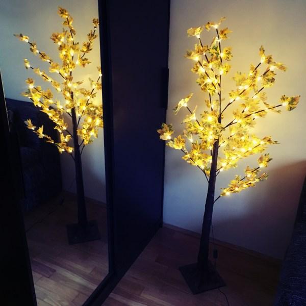 Karácsonyi LED juharfa világítás sárga