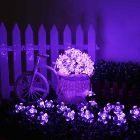 Napelemes LED cseresznyefa virág fényfüzér 2 m lila