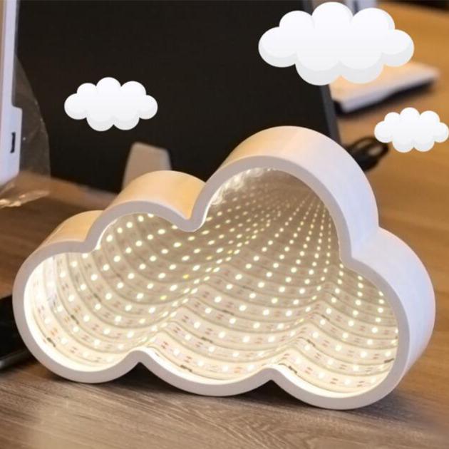 Beltéri LED végtelen tükör világítás felhő alakú 20 cm