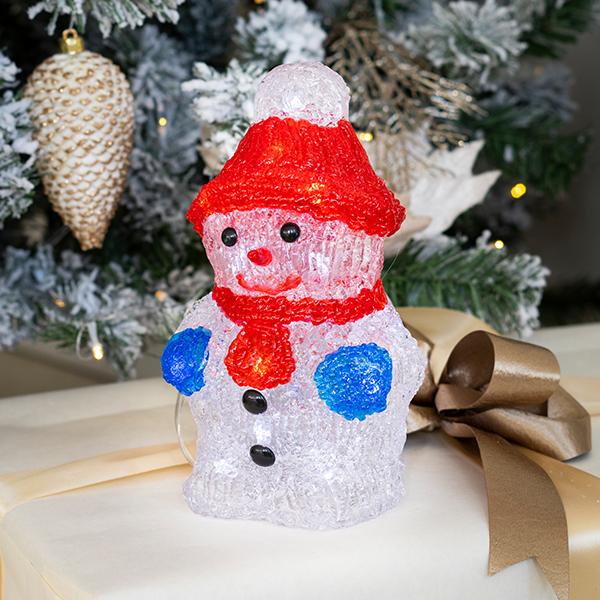 Beltéri elemes karácsonyi hóember világítás 20 cm