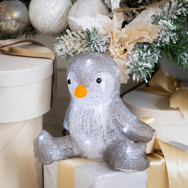Beltéri elemes karácsonyi pingvin világítás 20 cm – időzítős