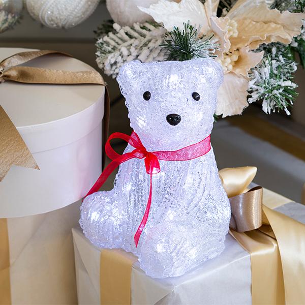 Beltéri elemes karácsonyi ülő jegesmedve világítás 20 cm