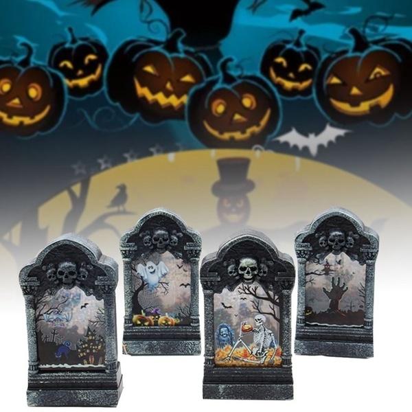 Beltéri LED Halloween sírkő világítás színváltós 12,6 cm – Denevér