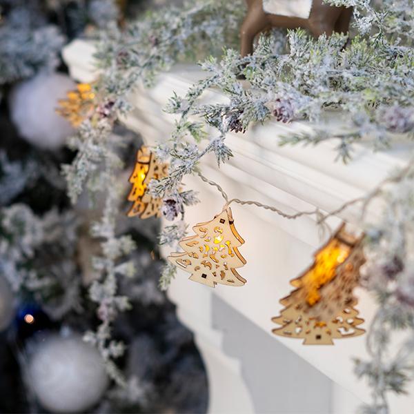 Elemes karácsonyfás fa fényfüzér 2 m meleg fehér