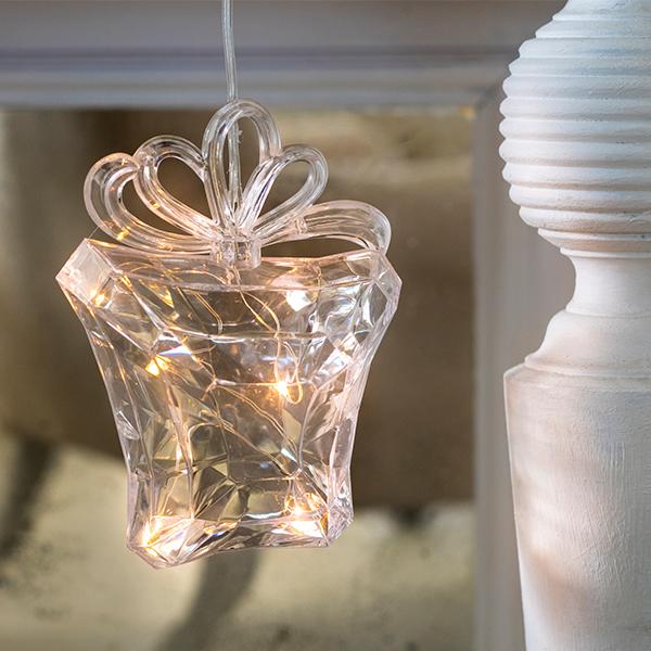 Elemes LED ajándékdoboz világítás meleg fehér 15 cm