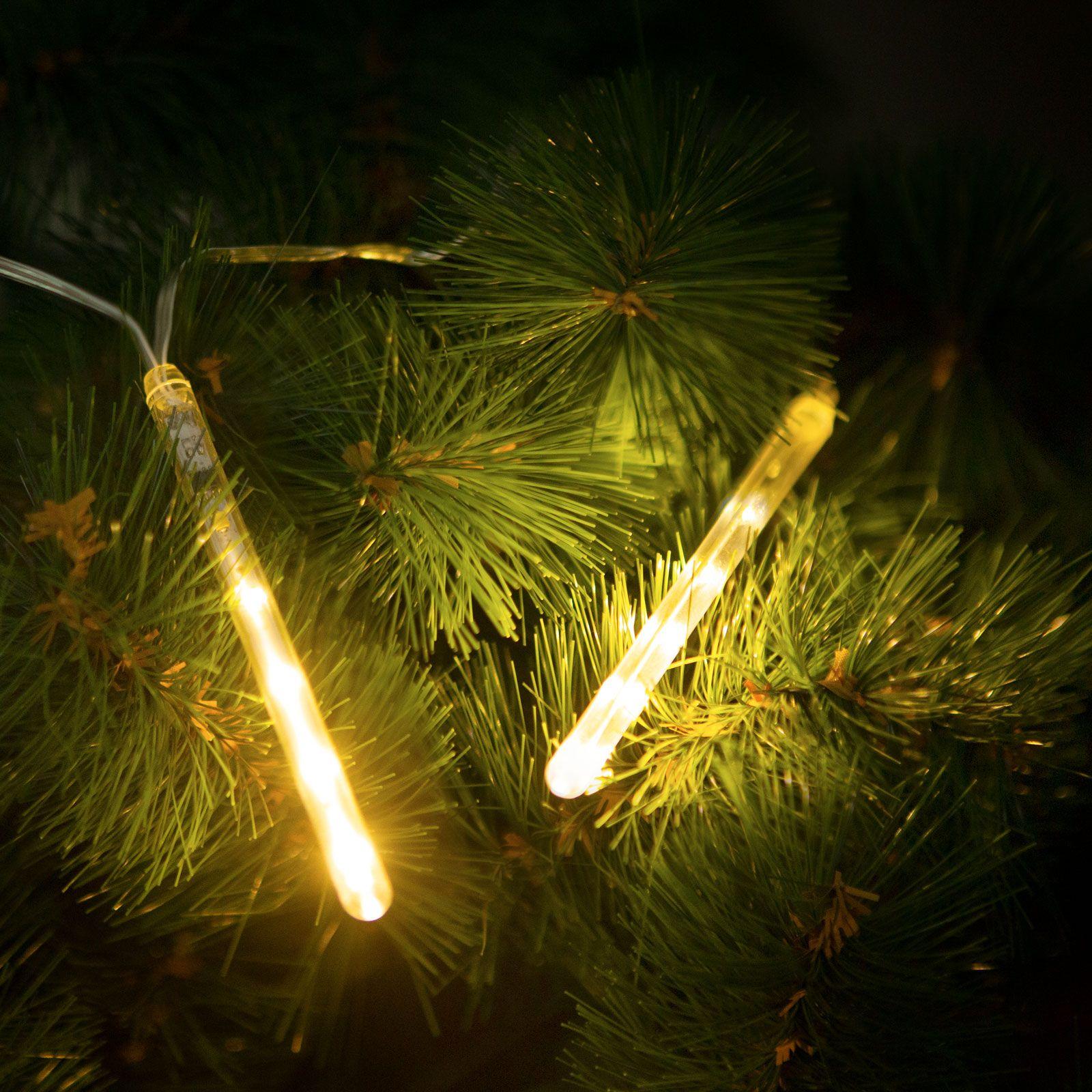 Karácsonyi elemes olvadást imitáló csepegő jégcsap meleg fehér – 11,5 cm