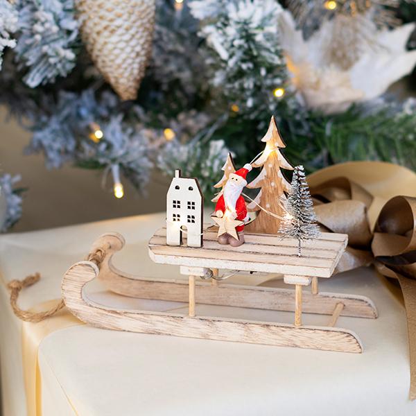 Karácsonyi fa szánkó dekor világítás 20 cm