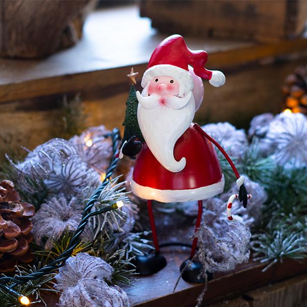 Karácsonyi fém fenyőfás télapó 20 cm
