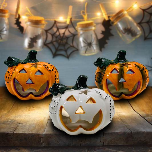 Halloweeni kerámia töklámpás 9 cm – Narancssárga+zöld