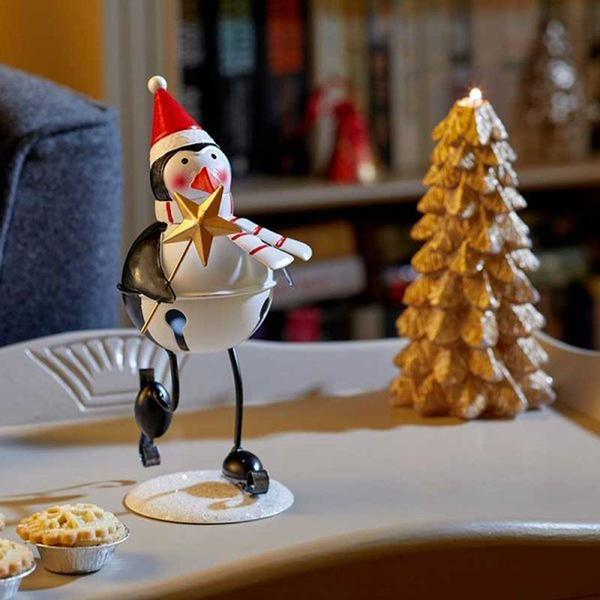 Korcsolyázó fém pingvin dekoráció 21 cm