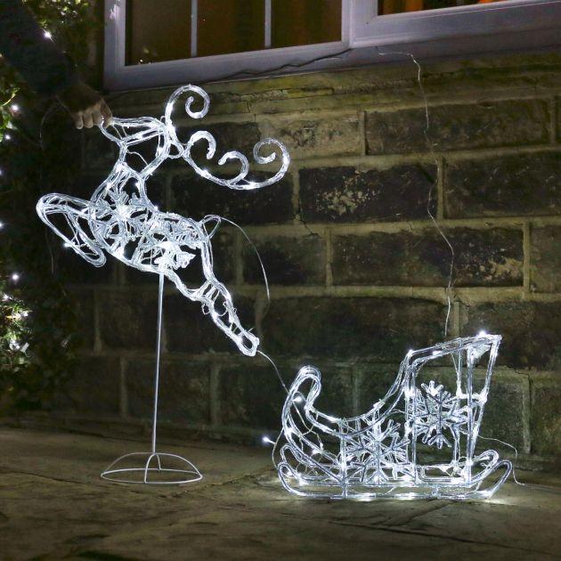 Kültéri karácsonyi akril szarvas szán világítás 100 cm – csollogó effekttel