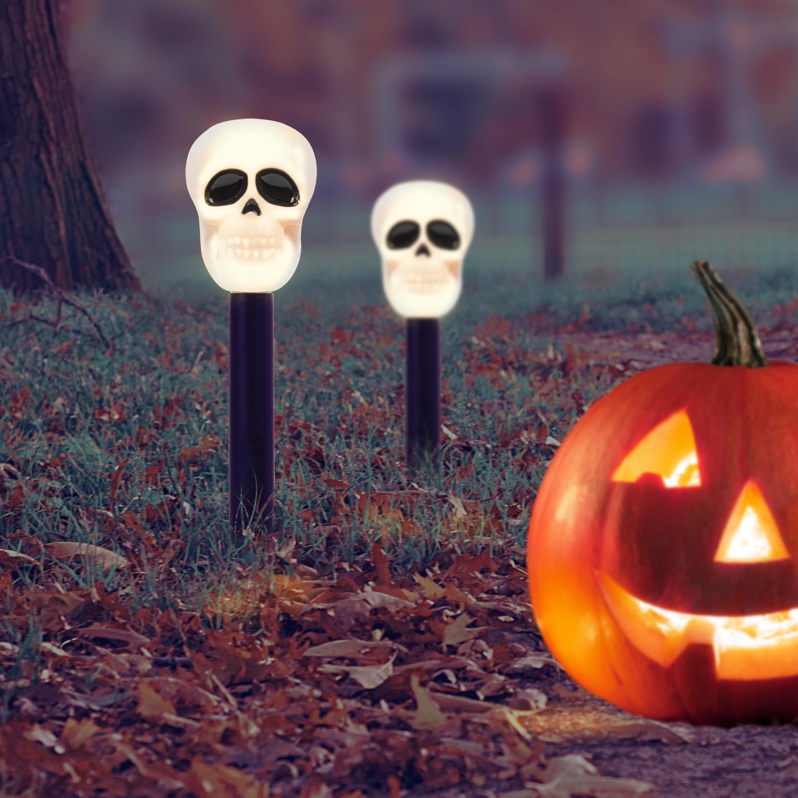 Napelemes szolár Halloweeni koponya lámpa 27 cm